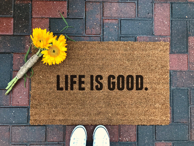 Life is good doormat quote doormat home decor farmhouse zoom amipublicfo Gallery