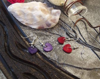 Small earrings with hooks, silver metal and sequins shell, red or dark choice purple heart