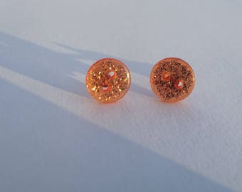 Small Stud Earrings orange buttons shiny acrylic