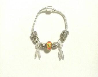 European Bead Bracelet European africa, feathers