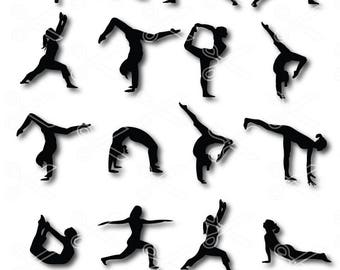 YOGA SVG, PNG, Dxf, Eps Cutting Files, yoga clipart, yoga silhouette, fitness svg, workout svg, yoga vector, namaste svg, exercise svg file