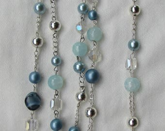 Pale Blue Mixed Bead Rosary