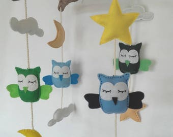 Owls in felt and green and blue Driftwood mobile