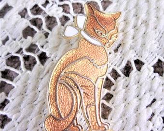 Vintage Enamel Cat Brooch Pin, Gold Tone Kitty Rhinestone Enameled Jewelry