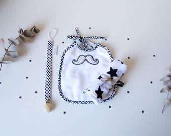 Box naissance 3 pièces, lange bébé, bavoir et attache tétine, noir et blanc