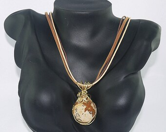 Jasper PENDANT crafted in brass setting, and cord