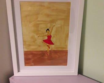 Red ballerina, ballet dancer, red dress, girls room decor, home decor original A4 acrylic painting