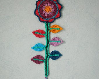 Flower and colorful leaves crocheted hanging