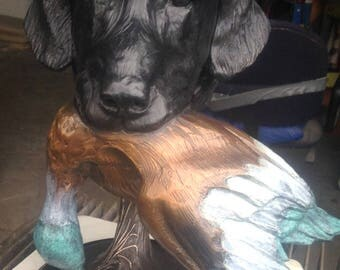 Bird dog bust of black Labrador retriever carrying duck in mouth. Gift for the duck hunter in your husband.