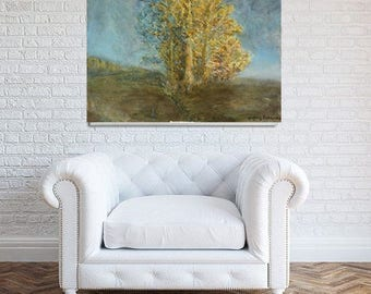"""Stunning Impression Oil Painting 24"""" Contemporary Landscape Wall Hanging Art Creative Autumn Forest Red Yellow Green Good Place Among Trees"""