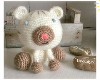 White Tiger with blue eyes for child-gift for child-Zumba room white tiger at the white tiger Child crochet Amigurumi toy