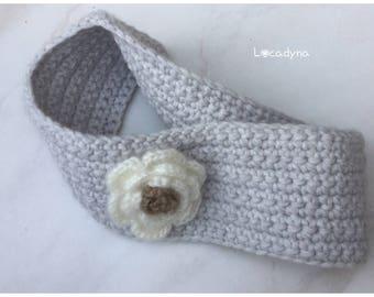 Headband - head warmer ears wool-winter warm soft and warm - Deco flower white - girl - Crochet Head Band - Warm Winter women gift