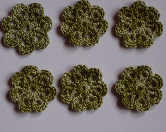 set of 6 small flowers green avocado crochet diameter 3 cm