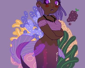 Grape Mermaid Sticker