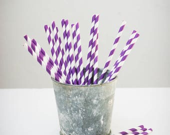25 paper straws paper (white with purple stripes)