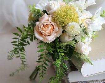 Champagne Wedding Bouquet Bridal Flowers Rustic Silk