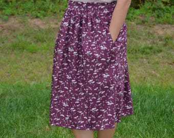 Handmade Floral Midi skirt with pockets and elastic waist