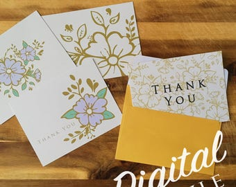 Printable Note Cards - Floral Print - Digital Cards - Purple and Gold - Note Cards - Thank You Cards