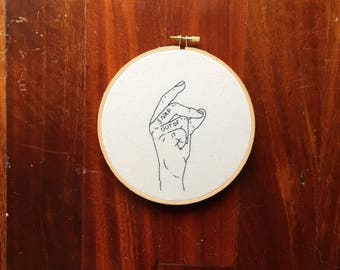 "Tumblr Embroidery Hoop ""Snap Out of It"" Hand Stitched // Black & White ~ Hand ~ Home Decor ~ Wall Art ~ Modern Embroidery ~ Motivational"