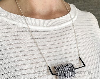 Paper necklace - a gift for her! Or gift for him! Unique handmade jewellery - black and white - silver chain - designer - monochrome