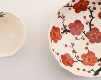 Hand Paint Red Ume - Round Bowl, blooming plum flower, spring, celebration