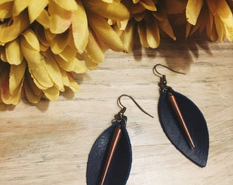 Genuine Leather Blue Earrings with Daggar Pendant