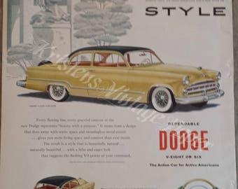 1953 Vintage Ad - Dodge Coronet Club Coupe - V-8 - Car - Automobile - American Car - Yellow Car - 1950s - Retro - Wall Decor - Wall Art