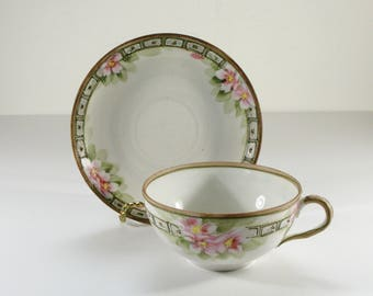 Antique Nippon Tea Cup and Saucer, Pink Flowers, Hand Painted Porcelain, Made in Japan, Tea Party, Replacement
