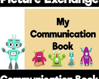 Monster Themed Picture Exchange starter set with communication book and picture cards