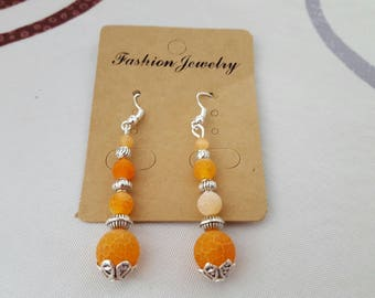 Earrings hook and silver metal bead, frosted orange agate bead