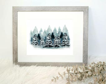 Blue Winter Trees (Watercolor Print)