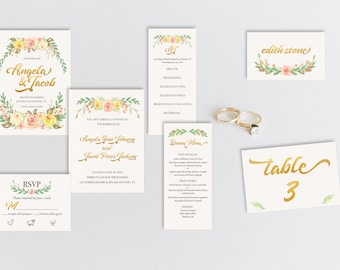 Peony Watercolor and Gold Wedding Suite   DIY Printable or Full Service Printing