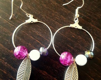 Feather hoop earrings