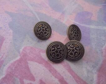 Set of 4 Vintage buttons metal 14 mm