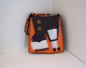 Handcrafted and original leather bag handstitched orange and Brown