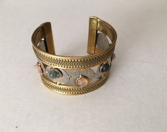Cuff Bracelet, Chunky Wide Metal and Stone Bracelet, Metal and Stone