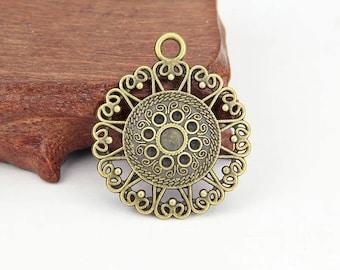 Antique Bronze Filigree Heart Ring Charms Flower Pendant Large Connectors 10 pcs 40x47mm YXS