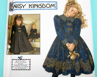 Simplicity 7788 Daisy Kingdom Girl's Matching Doll Dress Pattern 3, 4, 5, 6 Unused Vintage Sewing Pattern