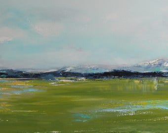 abstract, landscape, original abstract painting, 15x30, decor, wall art, fine art, modern abstract, contemporary, blue, green, impressionism