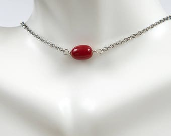 Red coral necklace etsy red coral necklacedainty red coral necklace layering necklace dainty necklace mozeypictures Images