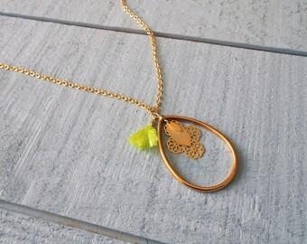 Necklace gold, mini lemon tassel
