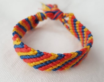 Child's size friendship bracelet - Red/Blue/Yellow