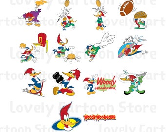 Woody Woodpecker Svg, Eps, Dxf and Png formats - 14 Postures Clipart - Digital Download - Woody Woodpecker X 14 Set B
