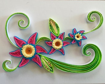 Flower Design 2:Beautiful Handmade Quilled Flower-Handmade Quilling Special Present-Wall Art Picture-House Warming Gift-Gift For Occasions