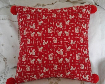 Red Squirrel/pompom cushion