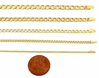 10k Hollow Gold Yellow Cuban Chain Necklace 1.5MM for Women Girls Teenagers Kid