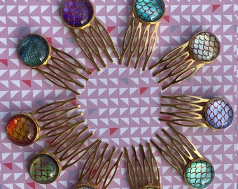 Combs cabochon mermaids - mounted by hand - more colors available