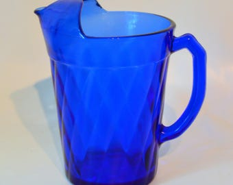 Cobalt Blue Lemonade Pitcher Anchor Hocking