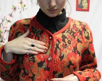 Orange colored vintage vest/cardigan