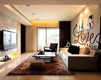 Love Paris - Wall decals for Travelers or France Lovers, Many colors and Sizes available, Eiffel Tower